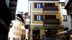 The cozy alpine town - Austrian architecture - stock footage