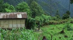 Himalaya lush mountains with snow, Sikkim, India, long shot Stock Footage