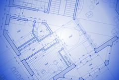 architecture blueprint - house plan - stock illustration