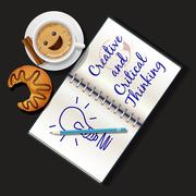 illustration of booklet, mug of cappuccino and croissant - stock illustration