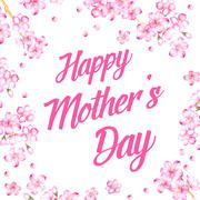 Stock Illustration of Card Happy Mother's Day. Greeting card with sakura. Vector illustration
