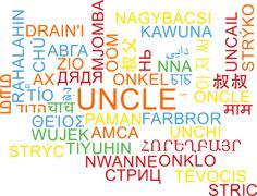 Uncle multilanguage wordcloud background concept - stock illustration