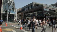 EDITORIAL  - crowds of people walking to and from Santa Monica Place Stock Footage