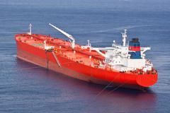 Red oil tanker. Stock Photos