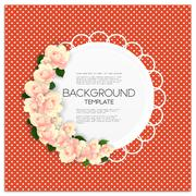 Invitation card with place for text and pink flowers over red dotted background Stock Illustration