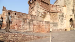 Stock Video Footage of Panoramic view of Mehrangarh fort outdoor fortification walls.