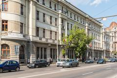 Rush Hour Traffic Downtown Of Bucharest City - stock photo