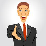 business man extending his hand for handshake - stock illustration