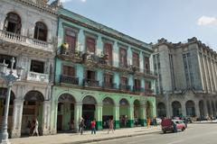 Cuba Havana City Streets Yello Bus Stock Photos