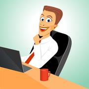 Business man sitting in office with laptop Stock Illustration