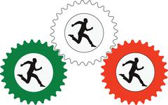Mannequin running in a gear Labour symbol of work Stock Illustration
