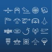 Aviation outline icons Stock Illustration