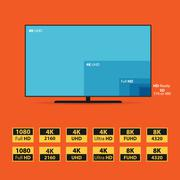 Flat 8K screen with set of HD stickers - stock illustration