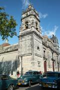 Cuba Town Historical Church & Car Oldtimer - Street Stock Photos
