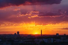 Epic Dramatic Sunset Sky in Industrial City - stock photo