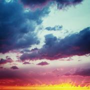 Vanilla Skies. Fantastic Dramatic Sunset Sky. Stock Photos