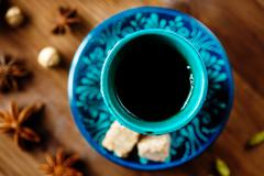 Drink with Spices in Authentic Turkish Glasses - stock photo