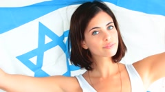 Woman with the flag of Israel Stock Footage