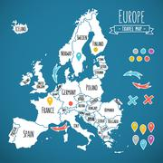 Hand drawn Europe travel map with pins vector illustration - stock illustration
