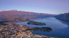 Queenstown & Lake Waktipu Sunset From Gondola Hills. Pan Down Zoom Out Stock Footage