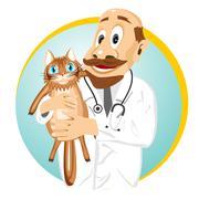 Older male veterinarian holding cat Stock Illustration