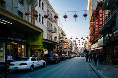 Businesses along Grant Avenue in Chinatown, San Francisco, California. - stock photo