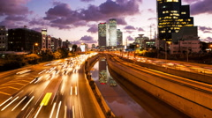 4K Traffic Time Lapse - Ayalon Freeway Stock Footage