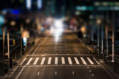 Crosswalk on Howard Street at night, in San Francisco, California. - stock photo