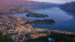 Queenstown & Lake Waktipu Sunset From Gondola Hills. Pan Left Zoom Out - stock footage