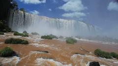 Brazilian waterfall. Foz do Iguazu, Brazil. World Famous Iguazu Falls. Paradise Stock Footage