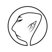 profile of buddhist monk - stock illustration
