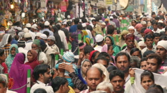 Busy bazaar nearby an Islamic shrine in Ajmer, India - stock footage