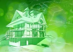 blueprint 3d house, plan & green bokeh - stock illustration