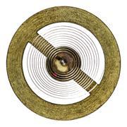 Pendulum of the old clock mechanism, isolated on white background - stock photo