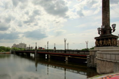 4K. Beautiful time lapse shot clouds over the city of Donetsk. River Kalmius Stock Footage