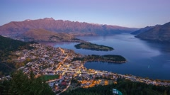 Queenstown & Lake Waktipu Sunset From Gondola Hills. Zoom In - stock footage
