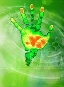 Thermal hand print, chemical formulas, radial HUD elements & green bokeh Piirros