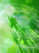 Futuristic metropolis, radial HUD elements & green bokeh Stock Illustration