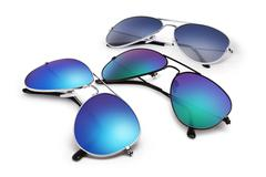 aviator sunglasses isolated on white background with blue mirrored lenses - stock photo
