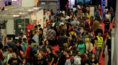 Stock Video Footage of Crowd At Convention, People, Comicon, Aerial View