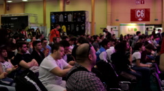 Room Full Of People At Convention, Crowd, Side Shot, Comicon, Pan Stock Footage