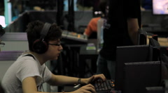 Gaming Tournament At Convention, Kids Playing Video Games, Comicon, Online Games Stock Footage