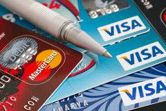 Visa and Mastercard plastic cards Stock Photos