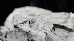 The text on paper on fire Stock Footage