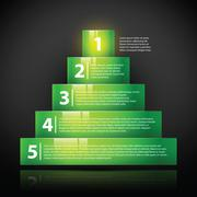 Glossy green pyramid with text and numbers. Useful for infographics, tutorial - stock illustration