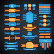Set of colorful retro styled badges and labels. Stock Illustration