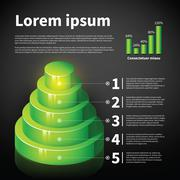 Green 3d cone chart with some infographic elements. Useful for presentations - stock illustration