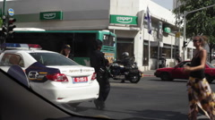 Israel Police in Tel-Aviv closing street, long shot Stock Footage