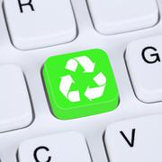 Stock Photo of Internet concept recycling button for recycle natural conservation on compute