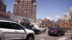 6th Ave traffic cars taxi Jefferson Market Library Village 4K NYC Manhattan Stock Footage